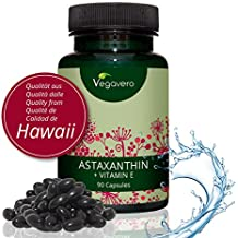 Astaxanthin Hawaii + Vitamin E Vegavero | 90 hochdosierte Kapseln | Premium Rohstoff (Haematococcus pluvialis) aus HAWAII | Vegane Softgel Kapseln