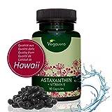 Astaxanthin Hawaii + Vitamin E | 90 hochdosierte Kapseln | Premium Rohstoff (Haematococcus pluvialis) aus HAWAII | Vegane Softgel Kapseln | Starke Antioxidantien | Vegavero