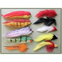 Pike Fishing Flies, 10 Pack, Mixed Patterns, Size 1/0 & 2/0, Pike Fly Fishing