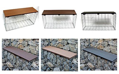 gabionenbank farbe der sitzbank w hlbar gabione sitzbank wpc steinkorb bank 100x53x30 cm. Black Bedroom Furniture Sets. Home Design Ideas