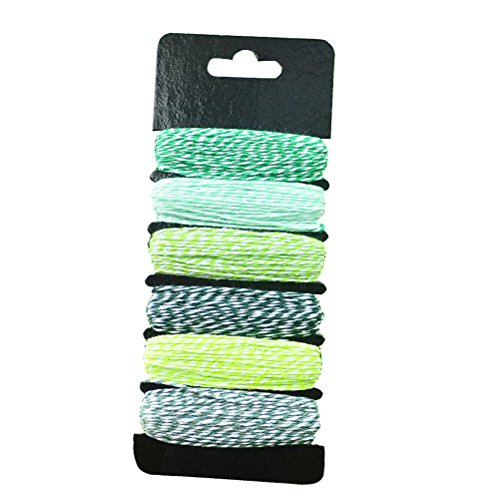 6 Pcs 7.5M Colorful Twine Gift DIY Packing Twine Natural Cotton Twine for Wedding Party Christmas Arts Crafts (Green Series)