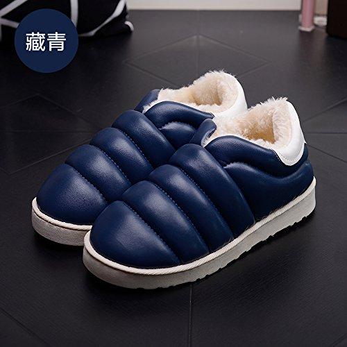 DogHaccd pantofole,Autunno Inverno slitta impermeabile coperta pantofole di cotone confezione a caldo con uomini e donne matura home soggiorno anti-slittamento pantofole spessa Blu scuro3