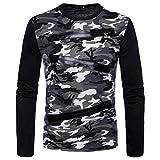 SEWORLD Sport Herren Mode Freizeit Oberteile Bluse Sommer Herbst Einzigartig Herren Winter Langarm Reißverschluss Camouflage Casual Anzüge Shirts Bluse Top(Weiß,EU-52/CN-XL)