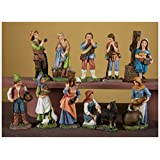 Pastore in resina cm. 10 multicolor - set 10 figure