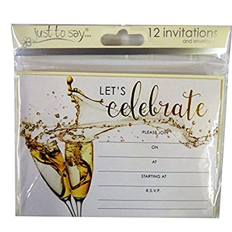 Celebration, Gold Party Invitiation Cards with Cream Envelopes - Pack of 12 - Lets Celebrate Design - Size 140mm x