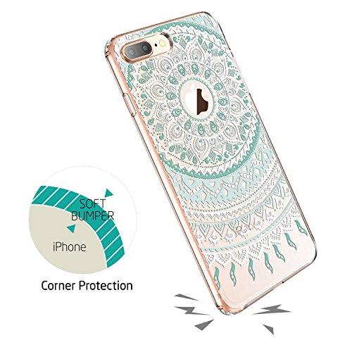 ESR iPhone 8 Plus Hülle, Weiche TPU Rahmen, Hartem PC Rückdeckel [Blumenmuster] Schutzhülle [Kabelloses Aufladen Unterstützung] für Apple iPhone 8 Plus 5.5 Zoll 2017 Freigegeben. Mandala