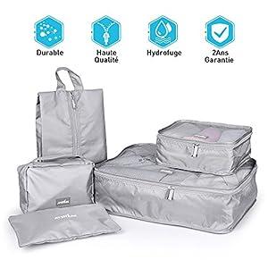Organisateur de Bagage Valise Voyage - Sac Cube de Rangement Bagage Durable Léger Housse Vêtement Emballage - Trousse De Toilette Pliable à Crochet Organisation Bagage Valise Sacoche Délicat Étanche