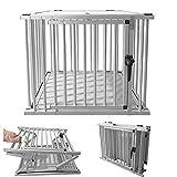 HENGMEI Faltbarer Alu Hundebox Hundetransportbox Reisebox Transportbox Gitterbox mit 1-Türig für Haustier (Faltbar, 1 Türig)