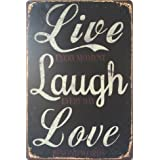 "erlood Live, Laugh, Love Retro Vintage Tin Sign–Placa de metal 12""X 8pulgadas"