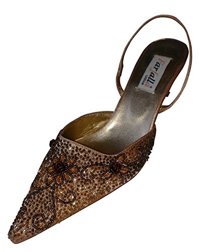 Satin Beaded Shoes - 2.5'' Heel gold