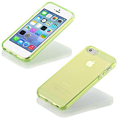 iP5 iPhone 5 / iPhone 5S SILIKON Schale Hülle Tasche Handyhülle Schutz Cover Case + PANZER GLAS FOLIE (Türkis) Grün