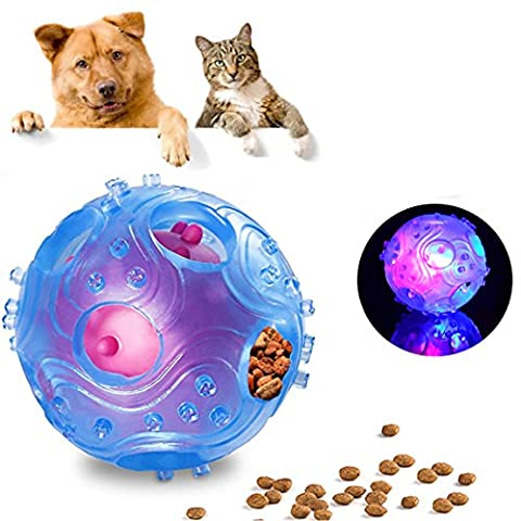 IQ Treat Ball Interactive Dog Toys with LED Light Up,Food Dispensing Dog Toys Ball for Small/Middles Size(under 30lbs) Dogs/Cats/Pigs Funny Dog Puzzle and Dog Toys for Boredom and Thinking