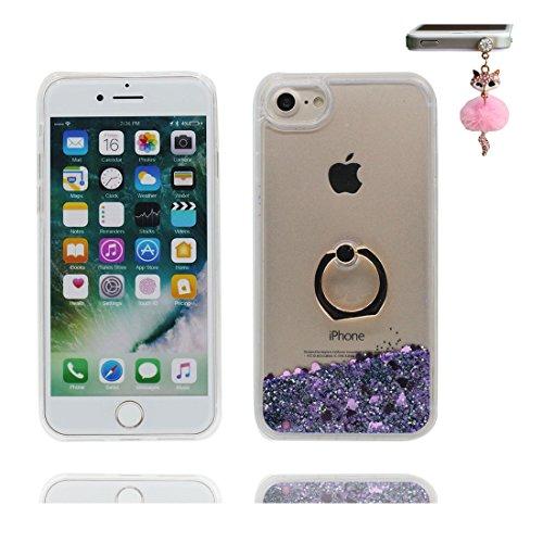 """iPhone 7 Coque, Étui Cover pour iPhone 7 4.7"""", Bling Glitter Fluide Liquide Sparkles Sables Shell iPhone 7 Case 4.7"""", perceptible Résistant à la poussière Scratch ring Support & Bouchon anti-poussière # 2"""