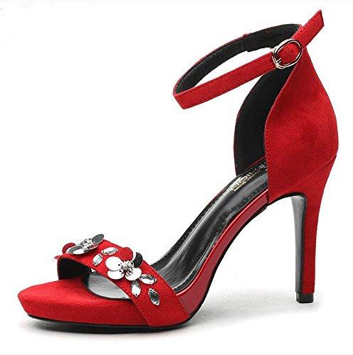 Donna bocca di pesce scarpe estate ragazze sandalo argento ,36 Red