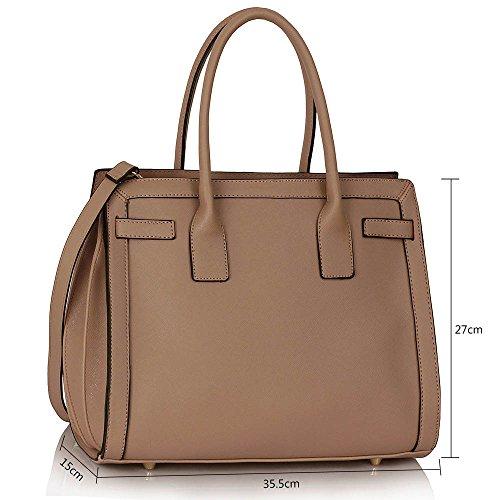 TrendStar Damen Konstrukteur Taschen Damen Für Leinentrage Imitat Leder Handtaschen Schulter Greifen Mode Taschen Nude 2