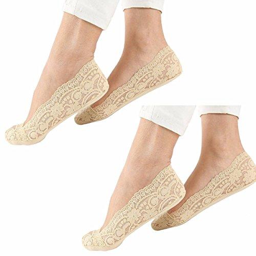 Ladies Lace Non Slip Shoe Liner Secret Socks Anti Slip Footsies Size   Womens