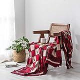 Tejer la Manta Lanza súper Suave Banda Couch Cubiertas Decorativas de Punto Mantas Sofá Cama (Color : Red, Size : 130x170cm)