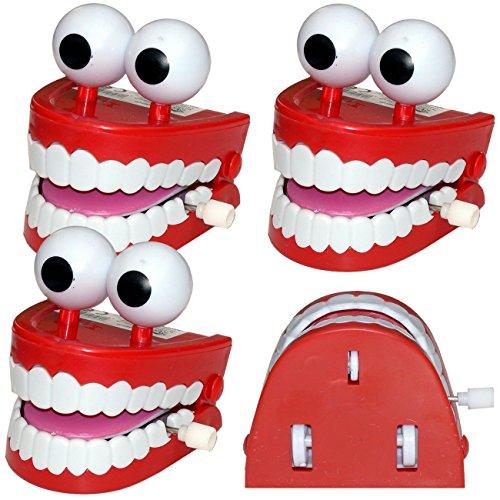 Spassprofi 4 x großes laufendes Gebiss mit Stielaugen Scherzartikel Zähne Gebisse