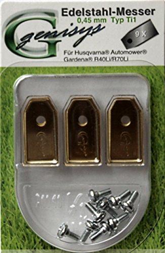 9Cuchillas de titanio Cuchilla de repuesto para Husqvarna Automower/Gardena Robot cortacésped (0,45mm) + Tornillos