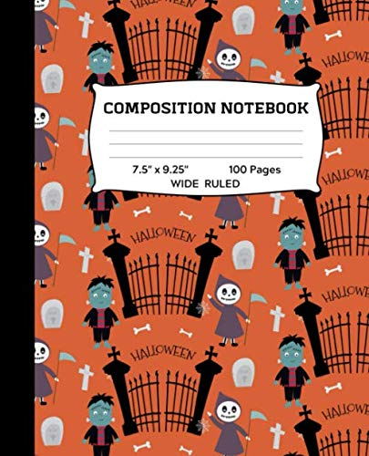 Composition Notebook: Frankenstein and Grim Reaper Wide Ruled Notebook | Lined Journal or Diary | School Subject Notebook for Homework and Writing ... Teens, Adults | 7.5