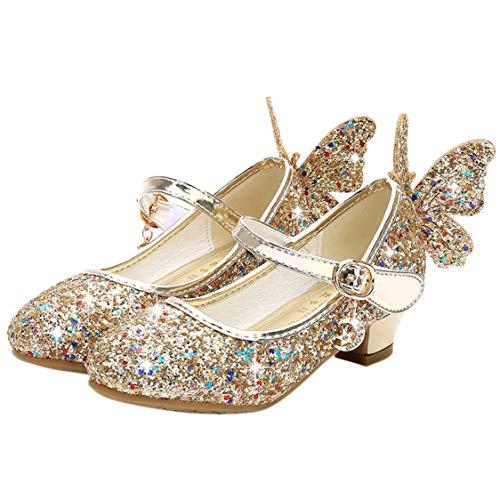 FStory&Winyee Mädchen Schuhe Prinzessin Kinder Ballet Schuhe Absatz Partei Glitzer Schmetterling Kristall Sandalen Ballerina Cinderella ELSA Cosplay Kostüm Karneval Party Aufführung Fasching 26-38 (Mädchen Cinderella Ballerina Prinzessin Kostüme)