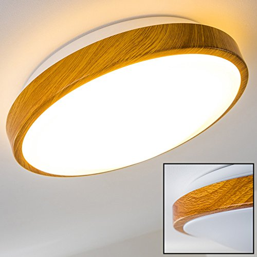 Bad Deckenleuchte in Holz-Optik - Deckenlicht für Badezimmer mit warmweißem Licht für gemütliche Atmosphäre - Badlampe Sora Wood mit modernem Holz-Dekor (Holz Decke)