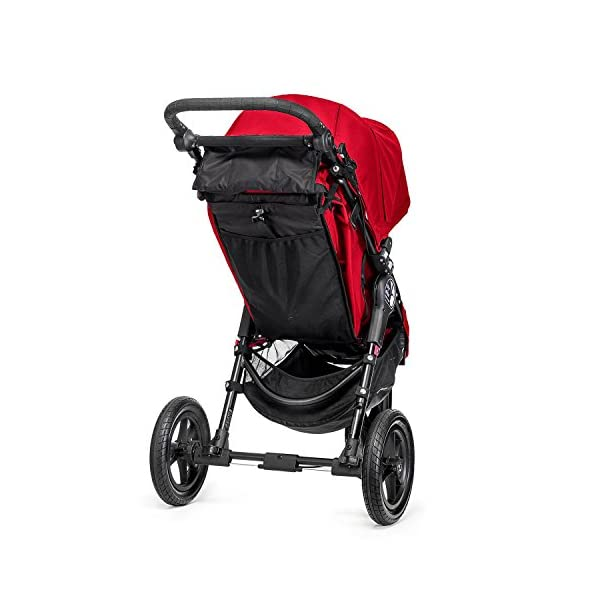 Baby Jogger City Elite Single Stroller Red  Lift one strap and the City Elite folds itself: Simply and compactly, it really is as easy as it sounds and the auto-lock will lock the pushchair for transportation or storage The City Elite offers an array of storage, including a built-in parent console that keeps your most used items at your fingertips, an adjustable handlebar and a hand-operated parking brake keeps all the controls within reach Suitable from birth, the seat reclines to a near flat position with vents and a retractable weather cover plus SPF 50+ hood throws a lot of shade on a sunny day and has a peek-a-boo window with magnetic closure so you can quietly check on your little one 8