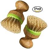 Rond Lavage de la vaisselle en bois de brosse de pot Pan Brosse Vaisselle Cuisine Brosse de nettoyage