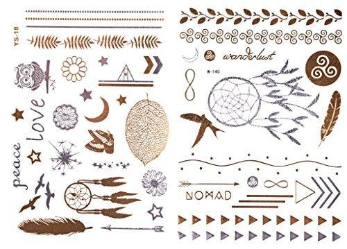 Attrape-rêves or Set/Flash Tatouage/tattoo/Dream Catcher/éphémères Tattoo/Tatouage adhésives/2 motifs feuilles – 50/w140ys18 de LK Trend & Style