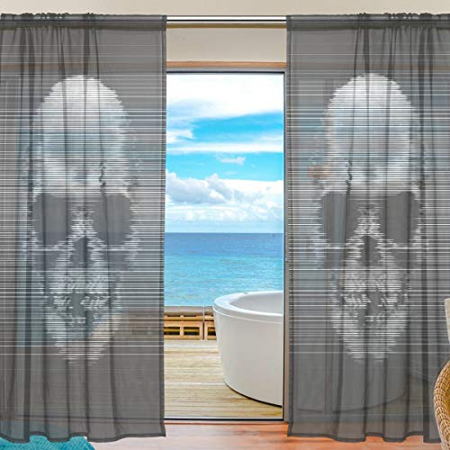 Mnsruu Yibaihe Halloween Vorhänge mit Totenkopf-Motiv, 198 cm lang, Voile Transparente Gardinen für Wohnzimmer, Schlafzimmer, 2er Set