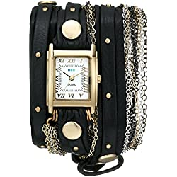La Mer Collections - Multi Chain Venice Black Leather Wrap Armbanduhr