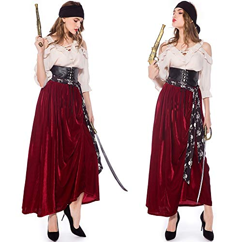 Kostüme Erwachsener Damen Frauen Sexy Halloween Karneval Cosplay Damenkostüm Damen Set Fancy Dress Costume Pirat Kostümzubehör Kleid und KopfbedeckungL (Home Piraten Kostüm Frauen)