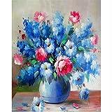 CZYYOU DIY Digital Malen Nach Zahlen Blau Vase Die Orchidee Ölgemälde Wandbild Kits Färbung Wandkunst Bild Geschenk - Ohne Rahmen - 40x50cm