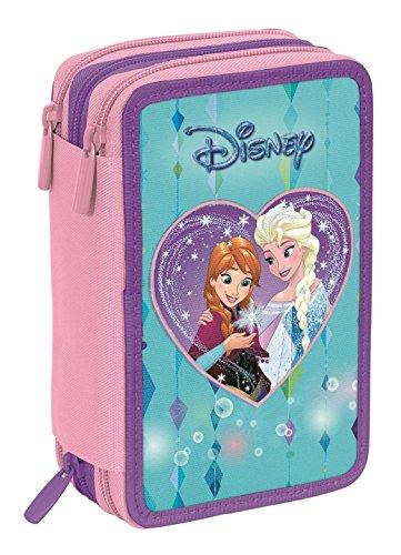 Estuche Escolar 3 Pisos – Disney Frozen Multi Compartimentos con lápiz, rotuladores, boligrafos… Azul Rosa