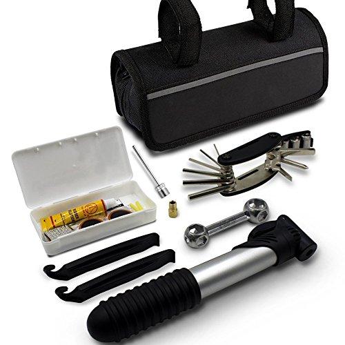 MAIKEGIGH Kits de herramientas de reparación de bicicletas Reparación de herramientas de reparación de bicicletas Conjunto de bolsas de reparación de neumáticos de ciclismo Incluido Parches y palancas de los neumáticos de Glueless Tire Tube