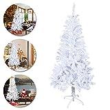 LARS360 Árbol de Navidad Árbol Artificial Arboles Decoración Navideña, Material Blanco PVC, Blanco con Soporte en Metal, Altura 5ft - 150cm