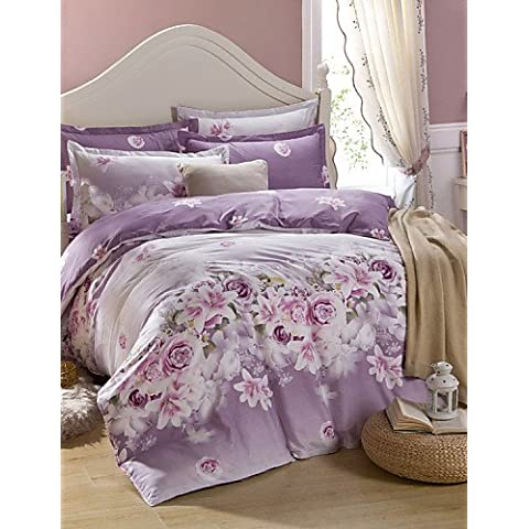 XP HOME impresión edredón caso fundas de almohada + 3pcs del lecho del algodón de la tela de matrimonio ,