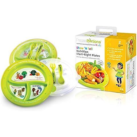 Grande Parte Piastra controlli Bambini–SHOW N 'tell Nutrition Start–Diritto Kit da Precise porzioni–Set di 2–Kid (Brown Ceramic Bowl)