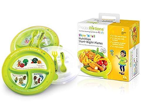 Grande Portion Plaque de contrôle enfants–Show N 'tell Nutrition Start–Kit de droite portions précis–Lot de 2–Kid Lave-vaisselle sans BPA–Assiettes–Couvercle–Manger Ustensiles–Fourchette–Cuillère–USDA Recommandations nutritionnelles–3Divisions à un design d'une taille parfaite sans Thinking–Repas à l'extérieur ou à la maison–Dessins Animés rend très facile pour les enfants à comprendre–Le meilleur outil pour perte de poids et une meilleure Living depuis l'enfance–Améliorer Votre Enfant avenir Lifestyle–Donnez une tête Start maintenant.
