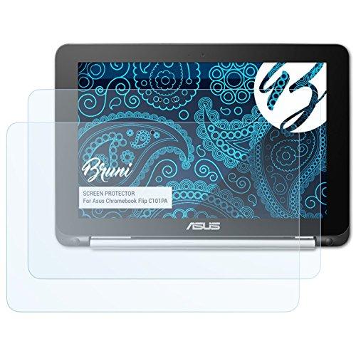 Bruni Schutzfolie kompatibel mit Asus Chromebook Flip C101PA Folie, glasklare Bildschirmschutzfolie (2X)