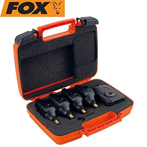 Fox Micron MR+ 4 Rod Blue - Bissanzeiger Set, Karpfenbissanzeiger + Receiver zum Angeln auf Karpfen, Bissmelder zum Karpfenangeln