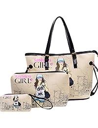 Ocamo 3Pcs/Set Women PU Leather Fashionable Bags Set Large Capacity Stylish Single Shoulder Bag + Handbag + Change...