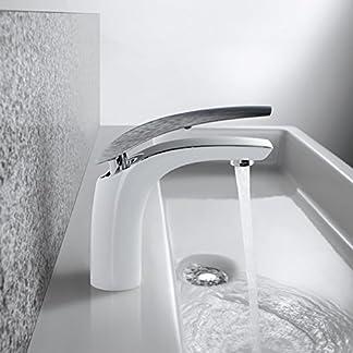 Homelody Grifo de Baño Grifos Lavabo Espejo Efecto Muebles de Baño Monomando Fregadero Grifo de Cuenca Griferia Baño Griferia Lavabo Grifos de Agua Caliente Y Fría