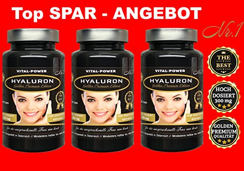XXXL SPAR-PACK 270-Vegan Kapseln TOP QUALITÄT die Nr1 HYALURON Golden Premium Edition HOCH DOSIERT 2 Kapseln = 600 mg Hyaluronsäure nur für kurze Zeit. Kaufs Dir Jetzt !! (Falten-heilmittel)