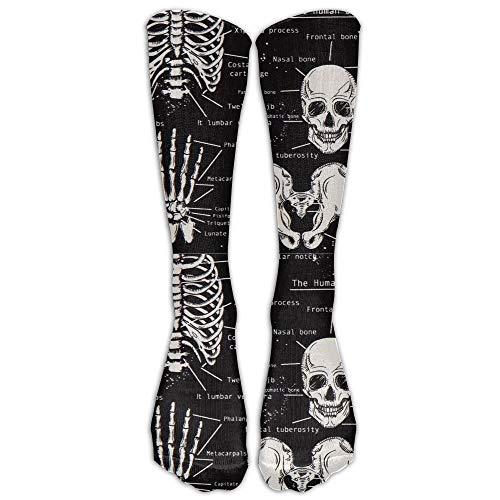 Rosa Schädel-knie-socken (jiilwkie Dark Skeleton Anatomy Compression Socks for Women & Men)