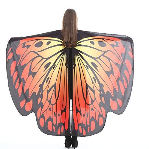 NORA TWIPS Schmetterling Kostüm Frauen Weiches Gewebe Schmetterlingsflügel Schal Fee Damen Nymph Pixie Kostüm Zubehör für - Nymphe Fee Kostüm