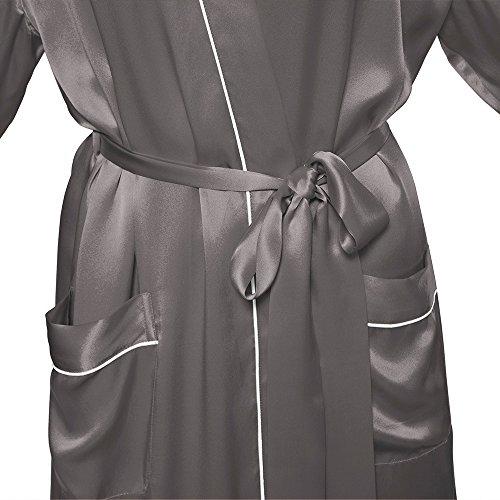 LILYSILK Robe de Chambre en Soie Femme Style Kimono Midi 22 Momme Gris Foncé
