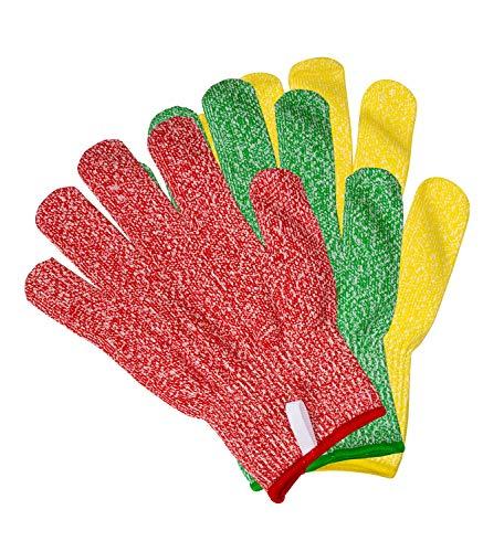 Preisvergleich Produktbild TruChef 3 Paar Schnittschutzhandschuhe – Schutzklasse 5,  lebensmittelecht,  3 knallige Farben zum Verhindern von Kreuzkontamination,  passend für beide Hände,  in 3 Größen erhältlich,  Rot / Grün / Gelb,  S