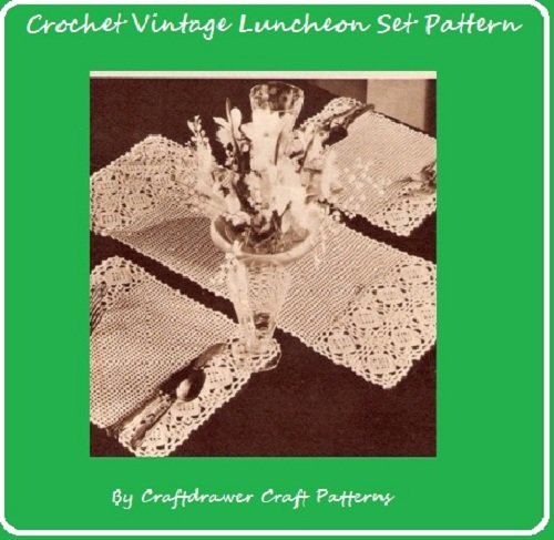 Crochet Luncheon Set Pattern - Vintage Crochet Patterns for Placemats and Center...