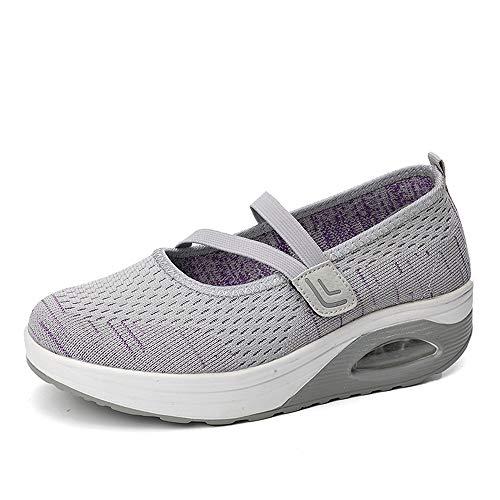 Sandalen Damen Freizeitschuhe Keilabsatz Leicht Walking Schuhe Atmungsaktiv Plateau Schuhe Sommer Mesh Fitness Sneaker Spitze Laufschuhe rutschfest Espadrilles Größe -